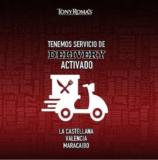 Tony Romas delivery Venezuela activa su servicio