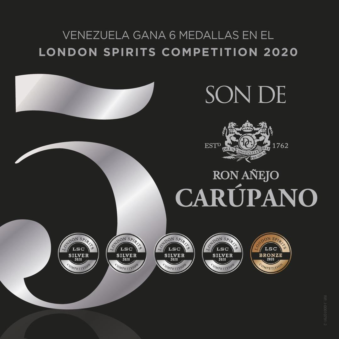 RON CARÚPANO GANA 5 MEDALLAS EN EL LONDON SPIRITS COMPETITION 2020