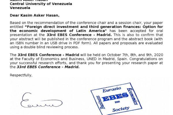 SOCIEDAD DE NEGOCIOS Y ECONOMÍA DE EURASIA confirma presencia de libro del Dr. Kasim Asker Hasan en 33ª Conferencia de EBES – Madrid