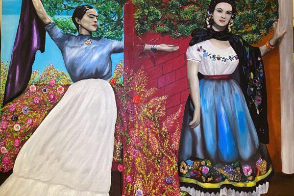 """Marco Luz presento su obra de arte """"Lo prohibido"""" de Frida Kahlo y María Félix"""