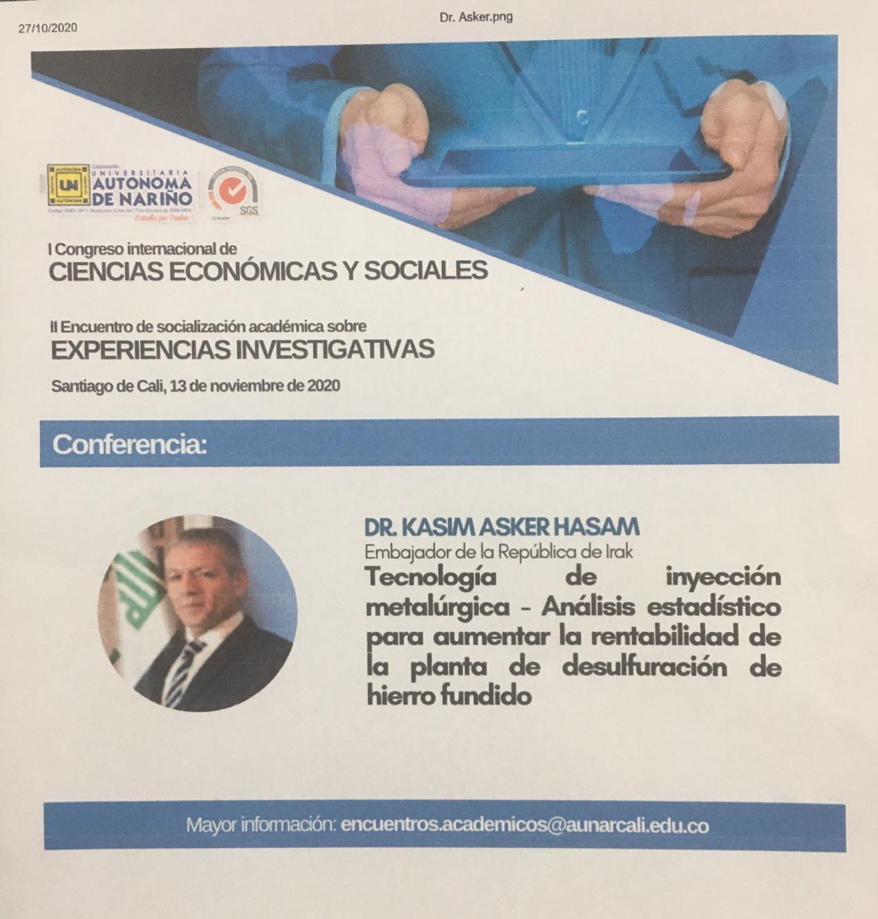 Embajador Kasim Asker Hasan estará presente en I Congreso Internacional de Ciencias Económicas y Sociales en Cali