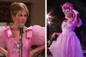 Cara Delevigne le da al poco popular vestido de Rachel un toque de alta costura en la reunión de 'Friends'