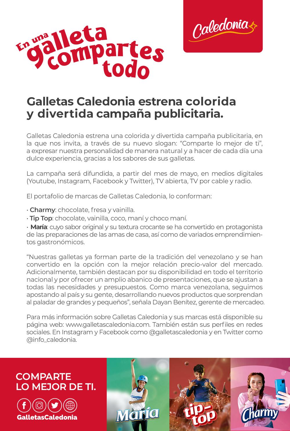 Galletas Caledonia estrena colorida y divertida campaña publicitaria.