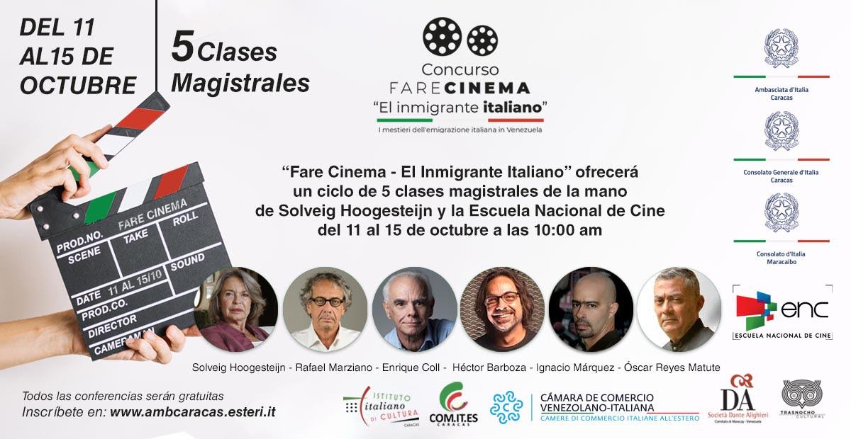 """""""Fare Cinema – El Inmigrante Italiano"""" ofrecerá un ciclo de 5 clases magistrales"""